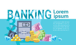 Banking Money Savings Business Finance Banner. Flat Vector Illustration Royalty Free Stock Photo