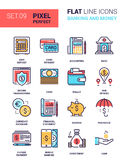 Banking and Money. Vector set of banking and money colorful flat line web icons. Each icon neatly designed on pixel perfect 64X64 size grid with adjustable Stock Images