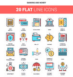 Banking and Money. Vector set of banking and money flat line web icons. Each icon with adjustable strokes neatly designed on pixel perfect 64X64 size grid. Fully Stock Photography