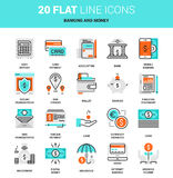 Banking and Money. Vector set of banking and money flat line web icons. Each icon with adjustable strokes neatly designed on pixel perfect 64X64 size grid. Fully Royalty Free Stock Photos