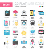 Banking and Money. Vector set of banking and money flat web icons. Each icon with adjustable strokes neatly designed on pixel perfect 64X64 size grid. Fully stock illustration