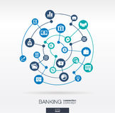 Banking network. Circles abstract background with lines and integrate flat icons. Connected symbols for money, card, bank, business and finance concepts vector illustration