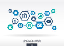 Banking network. Hexagon abstract background. With lines, polygons, and integrate flat icons. Connected symbols for money, card, bank, business and finance vector illustration