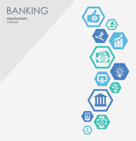 Banking network. Hexagon abstract background with lines, polygons, and integrate flat icons. Connected symbols for money. Card, strategy, bank, business and Royalty Free Stock Image