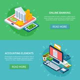 Banking Online Banners Set. Accounting isometric set of two horizontal banners with text read more buttons and conceptual image compositions vector illustration Royalty Free Stock Photo
