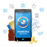 Banking Online Concept Mobile Phone App. Vector. Banking Online Concept Mobile Phone App with Credit Card, Wallet, Cheque and Coins. Vector illustration Royalty Free Stock Photo
