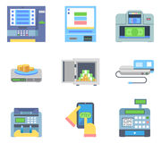Banking Payment ATM Money Cash Check Machines Flat. Banking Payment Money Cash Check Machines Flat Icon Isolated Set Vector Illustration Stock Image