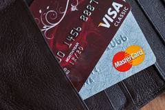 Banking payment cards Visa and MasterCard. Royalty Free Stock Photos