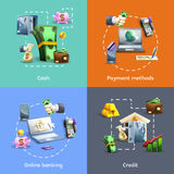 Banking and payment icons set Stock Photography