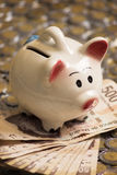Banking piggy bank with cash and coins Stock Photos
