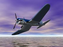 Banking Plane. Airplane making a turn Stock Image