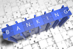 Banking. Puzzle 3d render illustration with block letters on blue jigsaw pieces Royalty Free Stock Photos