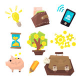 Banking Related Icons Set Stock Image