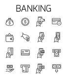 Banking related vector icon set. Well-crafted sign in thin line style with editable stroke. Vector symbols isolated on a white background. Simple pictograms Stock Photo