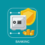 Banking Safe Protection Concept. Business finance banking money and bank security, secure safe and deposit banking, financial protection and saving investment Stock Photography