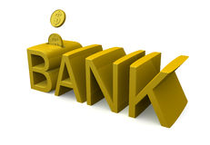 Banking and saving concept. Bank word with coins saving concept 3d illustration Stock Photos