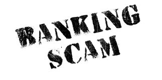 Banking Scam rubber stamp. Grunge design with dust scratches. Effects can be easily removed for a clean, crisp look. Color is easily changed Royalty Free Stock Image