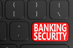 Banking Security on black keyboard. 3D rendering Royalty Free Stock Photo