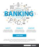Banking service and finance concept illustration. Thin line banner design of banking, finance, strategy, investment, etc. Modern concept Flat Style Stock Photo