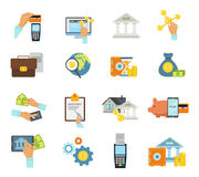 Banking Service Icon Flat Set. With banking accessories and equipment required to make transfers and purchases vector illustration Royalty Free Stock Photography