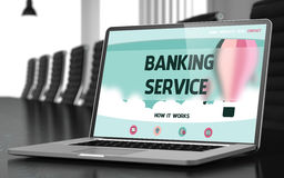 Banking Service on Laptop in Conference Hall. 3D. Royalty Free Stock Photos