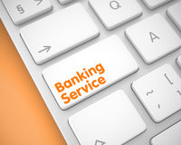 Banking Service - Message on the White Keyboard Keypad. 3D. Online Service Concept: Banking Service on Modern Keyboard lying on Orange Background. Service Royalty Free Stock Photo