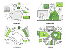 Banking services flat line illustration. Flat line illustration set of corporate banking services, professional financial consultation, business deal agreement Stock Photography