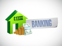 Banking sign illustration design. Over a white background Stock Photos