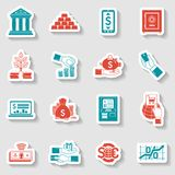 Banking Sticker Set. Banking money and financial investment paper sticker set isolated vector illustration Stock Photo