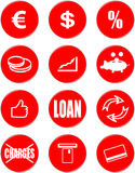Banking symbols. Red round button Royalty Free Stock Photos