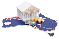Banking system in Australia concept. 3D rendering. Isolated on white background Royalty Free Stock Photography