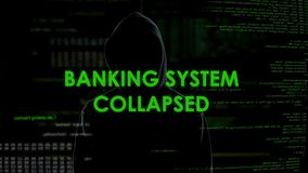 Banking system collapse, dangerous male hacker robbed finance firm via internet. Stock footage stock video