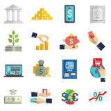 Banking system icons set Royalty Free Stock Photos