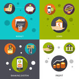 Banking System Loan. And financial profit flat design decorative icons isolated vector illustration Stock Photo