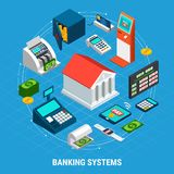 Banking Systems Round Composition. Banking systems isometric round composition on blue background with office building, professional equipment, payment terminals Stock Photos