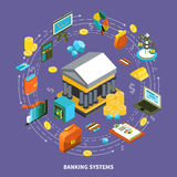 Banking Systems Isometric Round Composition. Banking financial icons isometric round composition with arrows wallet computer credit card coins gold money flow Stock Image