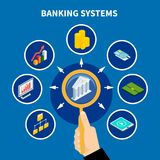 Banking Systems Pictogram Concept. Data isometric conceptual background with text and human hand with magnifying lens and financial banking icons vector Royalty Free Stock Image