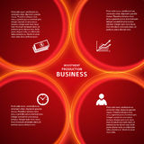 Banking template red background cover page. Modern style infographics design elements with loop lines circle on red background. Abstract shape. Vector Royalty Free Stock Photos