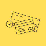 Banking with thin line check and credit card. Concept of billing, debt, insurance, invest, receipt, virtual store. isolated on yellow background. linear style Royalty Free Stock Photo