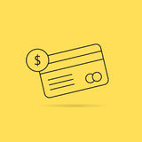 Banking with thin line checking credit card. Concept of billing, debt, insurance, invest, terminal, virtual store. isolated on yellow background. linear style Stock Photos