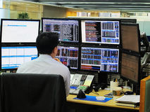 Banking transactions operator Stock Image