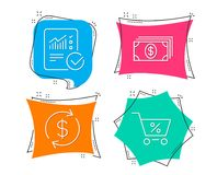 Banking, Usd exchange and Checked calculation icons. Special offer sign. Set of Banking, Usd exchange and Checked calculation icons. Special offer sign. Money Stock Photo