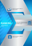 Banking vertical format A4 leaflet page presentation. Modern Design style infographic template. Illustration of different kinds of banking. Can be used for Stock Photos