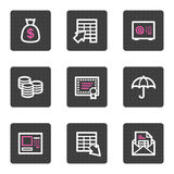 Banking video web icons. Vector web icons, grey square buttons series Stock Photography