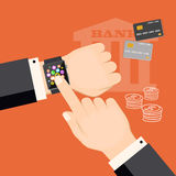 Banking virtual with smart watch and credit cards. Flat modern vector illustration banking concept with smart watch on the hand of businessman, credit cards and Royalty Free Stock Image
