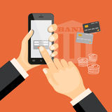 Banking virtual with smartphone and credit cards. Flat modern vector illustration banking concept with smartphone on the hand of businessman, credit cards and Royalty Free Stock Photo
