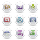 Banking web colour icons, white circle buttons. Vector web colour icons, white circle buttons series Stock Illustration