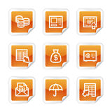 Banking web icons. Vector web icons, orange glossy sticker series, V2 Stock Photos