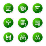 Banking web icons. Vector web icons, green sticker series icon set Royalty Free Stock Image