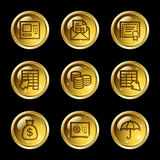 Banking web icons. Vector web icons, gold glossy circle buttons series Royalty Free Stock Images